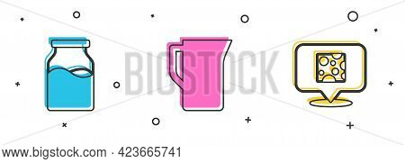 Set Bottle With Milk, Milk Jug Or Pitcher And Cheese Icon. Vector