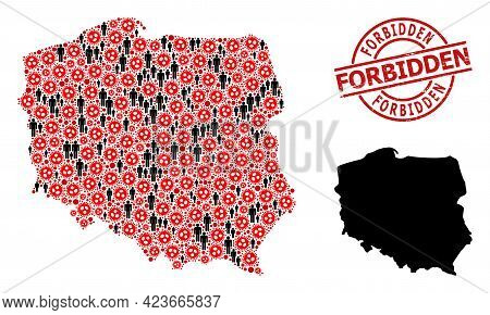 Mosaic Map Of Poland United From Flu Virus Items And Humans Icons. Forbidden Textured Stamp. Black M