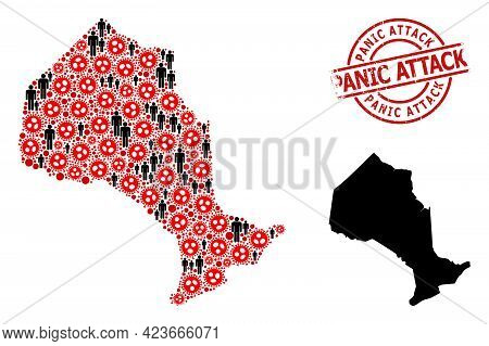 Collage Map Of Ontario Province Designed From Virus Outbreak Items And Men Items. Panic Attack Textu