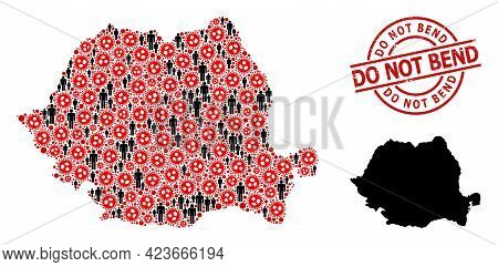 Collage Map Of Romania Constructed From Coronavirus Elements And Men Elements. Do Not Bend Scratched