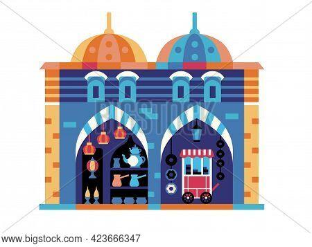 Istanbul Egypt Bazaar Travel Icon In Flat