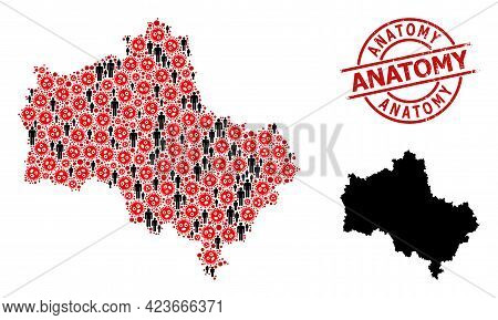 Mosaic Map Of Moscow Region Constructed From Flu Virus Elements And Demographics Items. Anatomy Grun