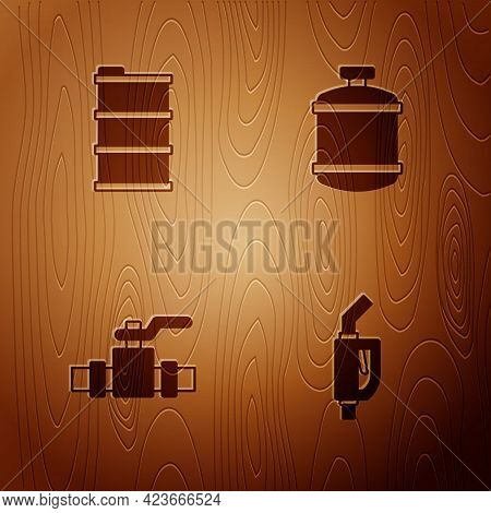 Set Gasoline Pump Nozzle, Barrel Oil, Metallic Pipes And Valve And Propane Gas Tank On Wooden Backgr