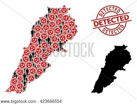 Collage Map Of Lebanon Designed From Sars Virus Elements And Men Icons. Detected Scratched Stamp. Bl