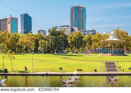 Adelaide, South Australia - February 23, 2020: Elder Park In Adelaide City Viewed Through The Riverb