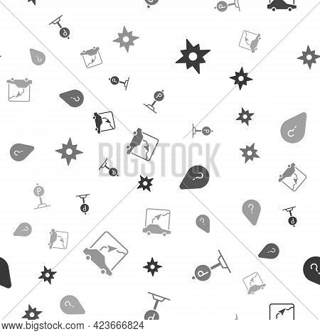 Set Wind Rose, Parking, Unknown Route Point And City Map Navigation On Seamless Pattern. Vector