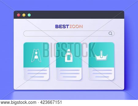 Set Bottle For Cleaning Agent, Clothes Pin And Temperature Wash Icon. Vector