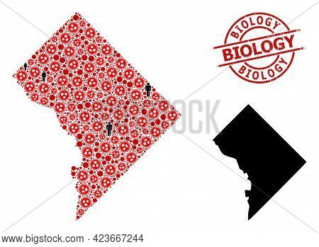 Collage Map Of Washington Dc United From Flu Virus Items And People Elements. Biology Textured Seal