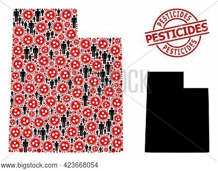 Mosaic Map Of Utah State Designed From Flu Virus Items And Men Items. Pesticides Distress Seal. Blac