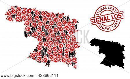 Collage Map Of Zamora Province Organized From Virus Outbreak Items And Men Items. Signal Lost Grunge