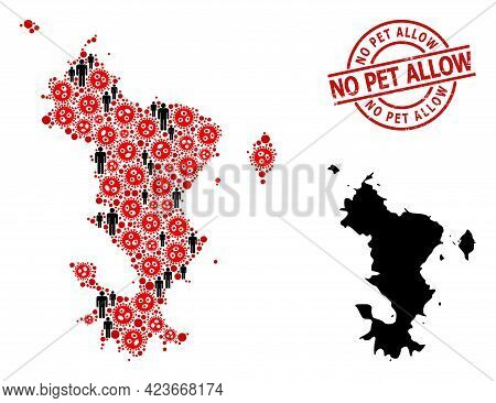 Mosaic Map Of Mayotte Islands Designed From Coronavirus Icons And Demographics Icons. No Pet Allow G