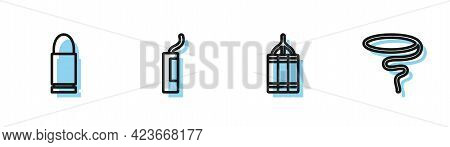 Set Line Dynamite Bomb, Bullet, And Lasso Icon. Vector