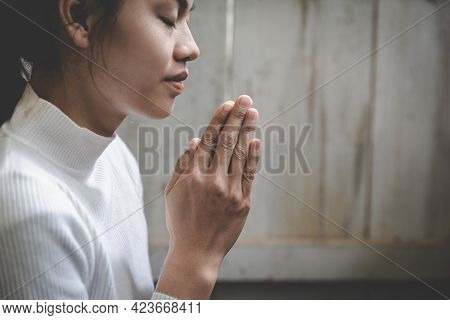 Pay Respect, Woman Praying Hands With Faith In Religion. Namaste Or Namaskar Hands Gesture,  Prayer