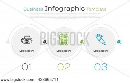 Set Line Home Stereo With Two Speakers, Cassette Tape Player And Fountain Pen Nib. Business Infograp