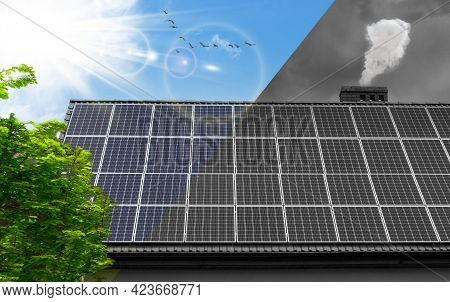 Solar Panel, Roof - Concept Clean Power Energy. Smog