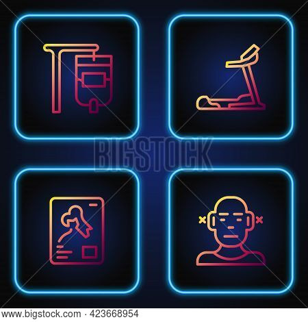 Set Line Deaf, X-ray Shots, Iv Bag And Treadmill Machine. Gradient Color Icons. Vector