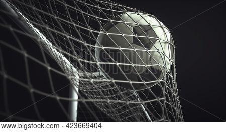 Soccer Ball, Scoring The Goal And Moving The Net. 3d Illustration, On Black Background.