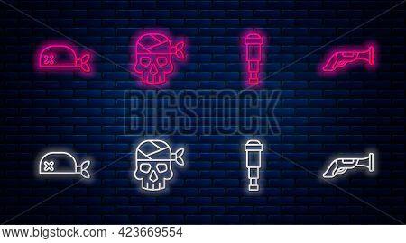 Set Line Pirate Captain, Spyglass Telescope Lens, Bandana For Head And Vintage Pistol. Glowing Neon