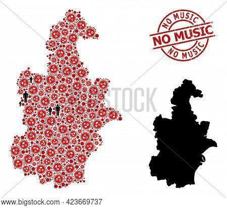 Mosaic Map Of Tianjin Municipality Organized From Coronavirus Elements And People Icons. No Music Sc