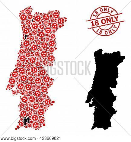 Collage Map Of Portugal Constructed From Coronavirus Icons And Population Icons. 18 Only Grunge Seal