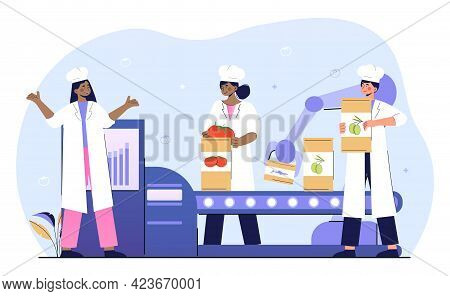 Female Workers Putting Fresh Vegetables And Greens On Conveyor Belt. Concept Of Canning Factory Work