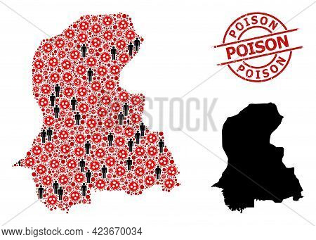 Mosaic Map Of Sindh Province Composed Of Flu Virus Elements And Humans Items. Poison Distress Seal S
