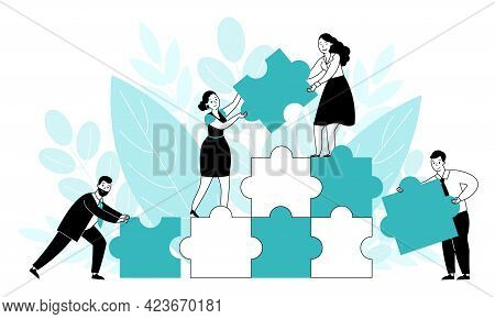 Office People With Puzzle. Team Cooperate Concept, Creative Work And Building Business Ideas. Flat P