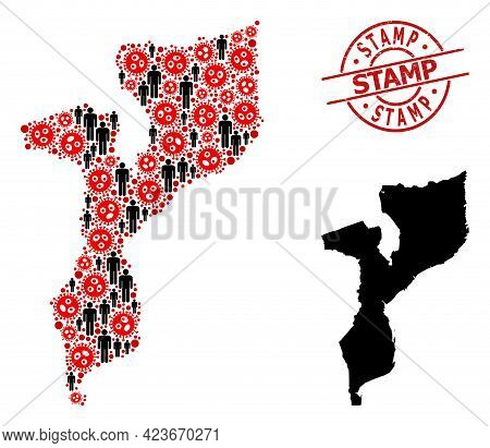 Collage Map Of Mozambique Constructed From Coronavirus Icons And Population Icons. Stamp Textured Se