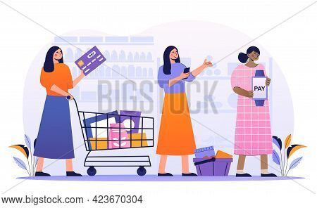 Female Customers Are Standing In Line In Supermarket With Credit Card And Smart Watch For Cashless P