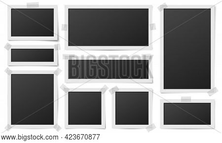 Square Photo Frames. Photos Framing, Frame Photography Template. Realistic Digital Blank Image On Ta