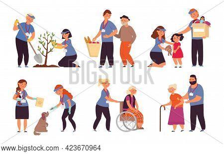 Volunteer Care. Old People Nurse, Isolated Young Human Helping Senior. Volunteers Service, Helpful P