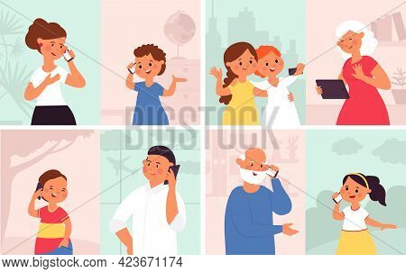 People Talking Phone. Man Listening, Phones Talk Persons. Young Girls Video Call, Cartoon Mobile Con