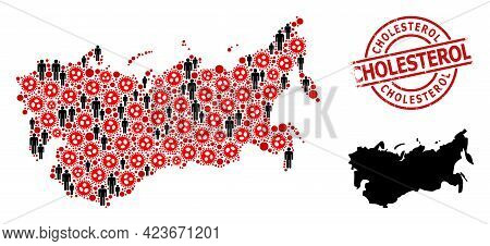Mosaic Map Of Ussr United From Virus Icons And Population Icons. Cholesterol Grunge Watermark. Black