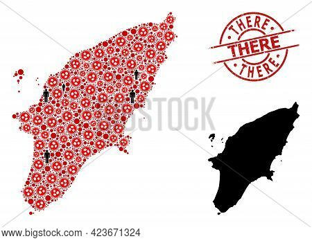 Collage Map Of Rhodes Island Composed Of Flu Virus Items And Demographics Elements. There Distress S