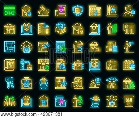 Realtor Icons Set. Outline Set Of Realtor Vector Icons Neon Color On Black