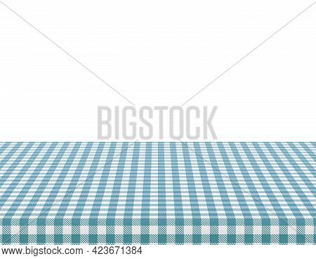 Picnic Tablecloth. Retro White Blue Cloth Squares Texture. Desk Canvas Or Pattern Blanket. Clean Sur