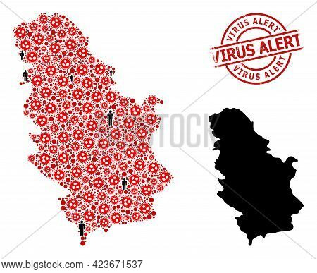 Mosaic Map Of Serbia Constructed From Sars Virus Elements And Men Elements. Virus Alert Scratched Se