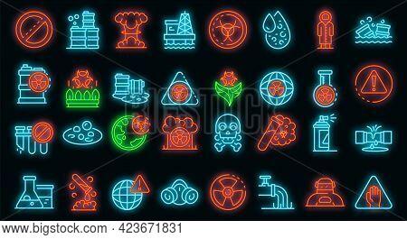 Biohazard Icons Set. Outline Set Of Biohazard Vector Icons Neon Color On Black