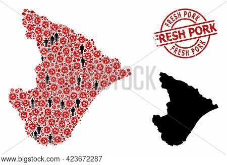 Collage Map Of Sergipe State Organized From Sars Virus Items And Men Elements. Fresh Pork Scratched