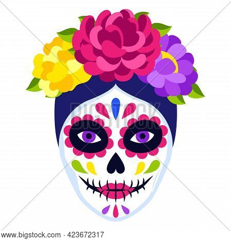 Traditional Mexican Catrina Head Skull. Dia De Los Muertos. Day Of The Dead Symbol With Flowers.