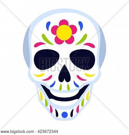 Traditional Mexican Head Skull. Dia De Los Muertos. Day Of The Dead Symbol With Decoration .