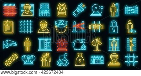 Prison Icons Set. Outline Set Of Prison Vector Icons Neon Color On Black