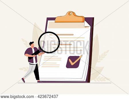 Man Holding Magnifying Glass And Examining Document. Concept Of Business Analysis, Audit, Profession