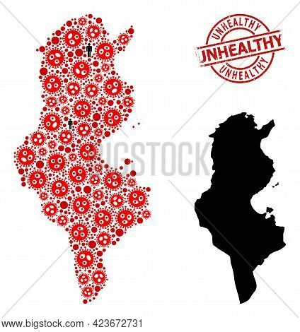 Mosaic Map Of Tunisia United From Covid Virus Elements And Demographics Elements. Unhealthy Distress