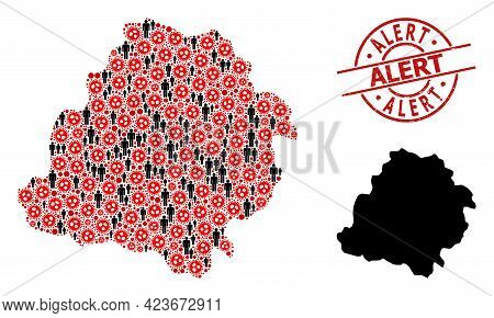 Collage Map Of Lodz Province Designed From Coronavirus Icons And Population Icons. Alert Grunge Badg