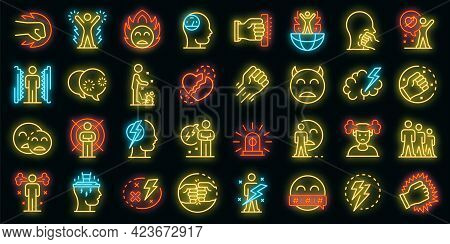 Rage Icons Set. Outline Set Of Rage Vector Icons Neon Color On Black