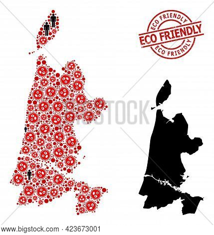 Mosaic Map Of North Holland Composed Of Sars Virus Icons And Population Icons. Eco Friendly Grunge W