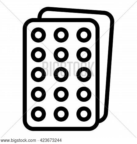 Antidepressant Blister Icon. Outline Antidepressant Blister Vector Icon For Web Design Isolated On W