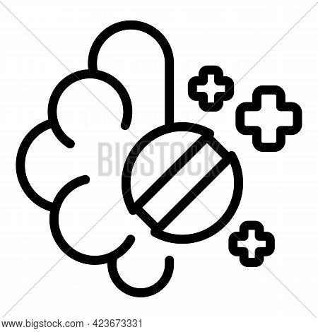 Antidepressant Brain Icon. Outline Antidepressant Brain Vector Icon For Web Design Isolated On White