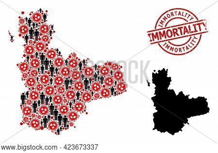 Collage Map Of Valladolid Province Organized From Flu Virus Items And Men Icons. Immortality Grunge